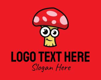 Mushroom - Cute Happy Mushroom logo design