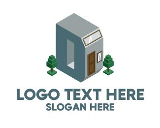 House - Modern Building Letter D logo design