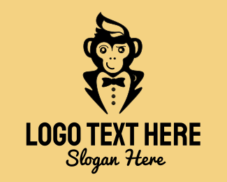 Flirty - Monkey Tuxedo logo design