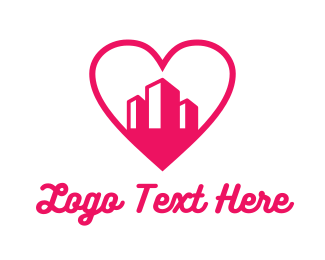 Valentines - Pink Heart Buildings logo design