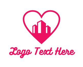 Pink - Pink Heart Buildings logo design