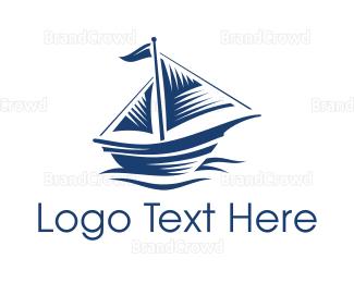 Sailing - Blue Sail Ship logo design