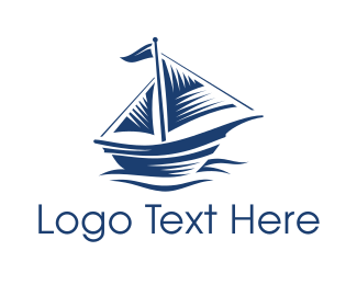Ship - Blue Sailboat Ship logo design