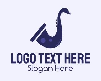 Drumming - Violet Duck Saxophone  logo design