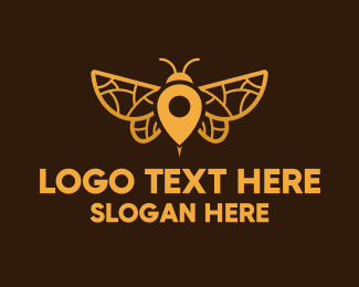 Honeybee - Gold Insect Locator logo design