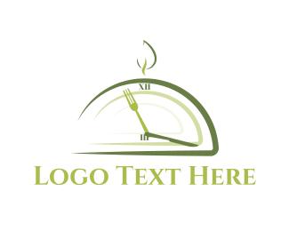 Clock - Lunch Time logo design