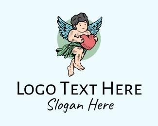 Angel Cherub Cupid Heart Logo Maker