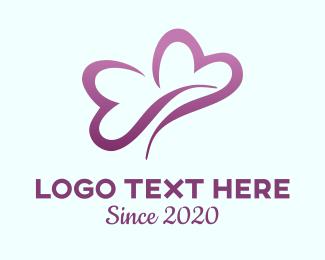 Dating App - Heart Butterfly logo design