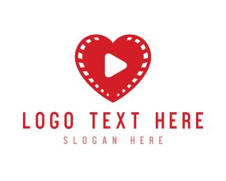 Recording - Heart Video logo design