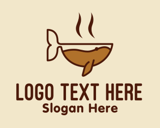 Hot Chocolate - Hot Coffee Whale  logo design