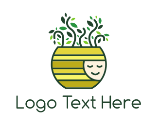 Plant - Happy Pot Plant logo design