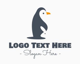 Emperor Penguin - Modern Penguin & Rabbit logo design