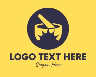 Food Preparation - Yellow Mortar & Pestle logo design