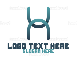 Typography - Abstract H Stroke logo design
