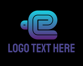 E Cigarette - Thick Blue Letter E logo design