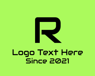 Hacker - Tech Green R logo design