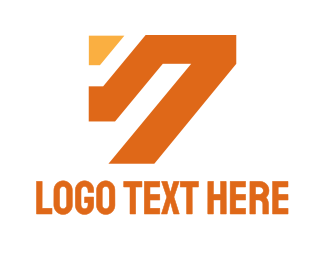 Number 7 - Orange Number 7 logo design