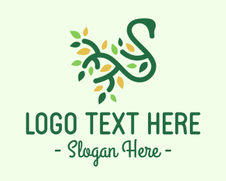 Peacock - Green Eco Swan Letter S logo design