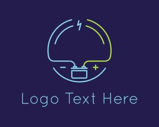 Battery - Thunder & Battery logo design