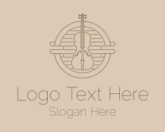 Violin Teacher - Violin Dainty Line Art logo design
