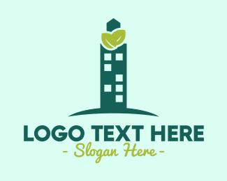 Architecture - Green Skyscraper logo design