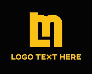 Yellow - Orange Letters & Number 4 logo design