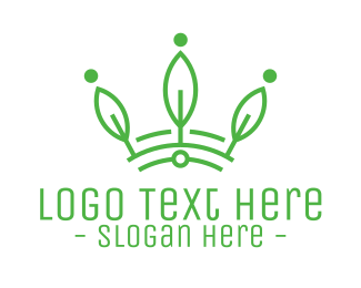 Ecology - Green Leaf Tech Crown logo design