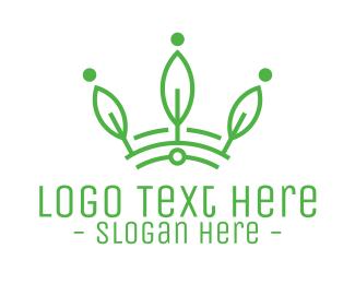 Green Leaf - Green Leaf Tech Crown logo design