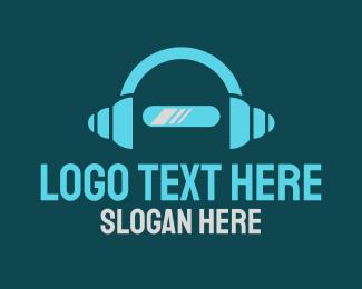 Droid - Robot Headphones logo design