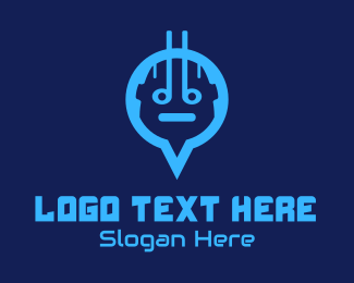 Tracking App - Blue Android Location Pin logo design