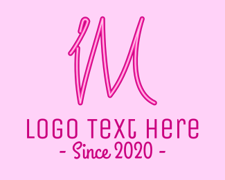 Makeup Blogger - Fancy Neon Monogram I & M logo design