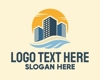 Seaside - Sunny Seaside Buildings logo design
