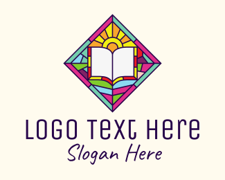 Minister - Religious Book Stained Glass logo design