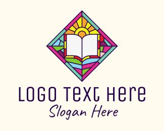 Religious - Religious Book Stained Glass logo design