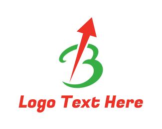 Cursive - Arrow Cursive B logo design