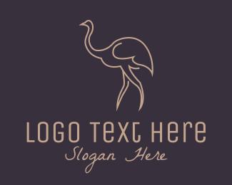 Seabird - Brown Ostrich Outline  logo design