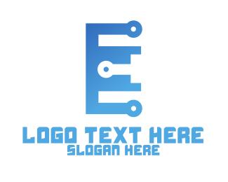 Techonology - Blue Circuit Letter E logo design