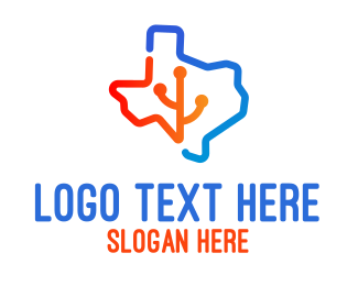 Texas - Texas Map Technology logo design