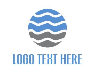 Globe - Wave Circle logo design