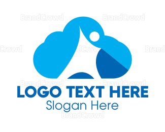 Cloud Drive - Blue Cloud Person logo design