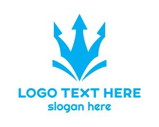 Staff - Blue Abstract Trident  logo design