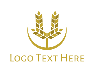 Rice Field - Modern U Wheat logo design