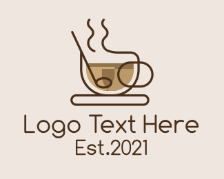 Coffee Stand - Monoline Cup of Coffee logo design