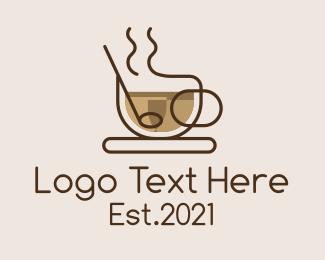 Cafe Americano - Monoline Cup of Coffee logo design