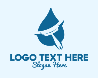Squeegee - Squeegee Water Drop  logo design