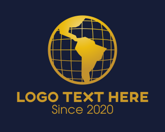 Landmass - Golden World Atlas logo design