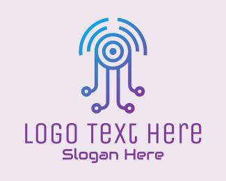 Tentacle - Futuristic Jellyfish Tech logo design
