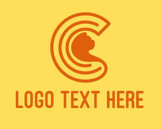 Pet Cat - Orange Cat Letter C logo design