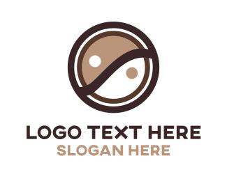 Peace - Brown Ying & Yang logo design