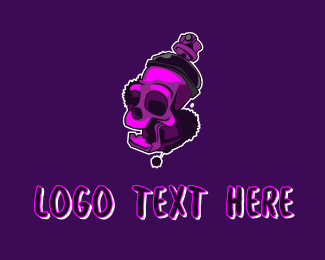 Pubg - Purple Skull Spray Paint logo design